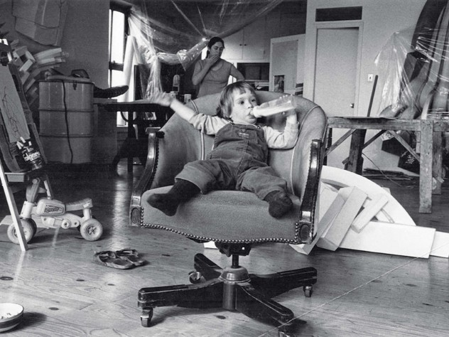 Eve, in her mother's East Village sculpture studio, with Mary Ann in the background
