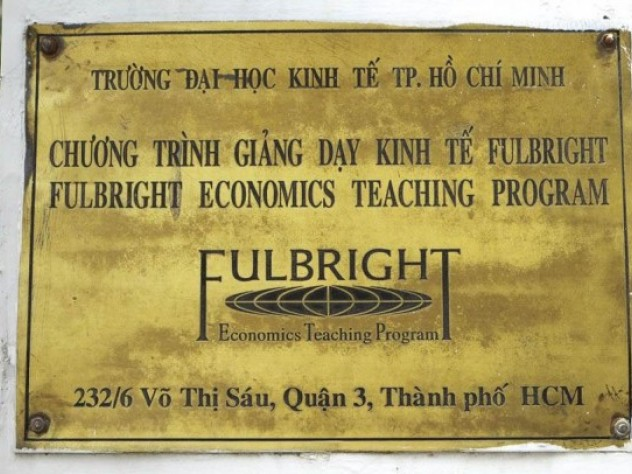 The Fulbright Economics Teaching Program's nameplate at its campus in Ho Chi Minh City