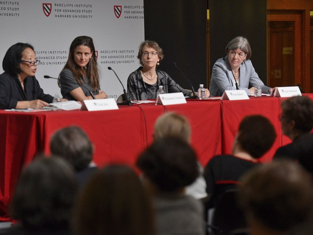 Discussing women writers were (from left) novelist Gish Jen, editor Elisabeth Schmitz, editor Ann Hulbert, and novelist Claire Messud.