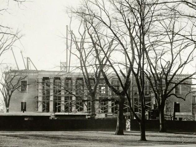 Widener Library under construction in 1913