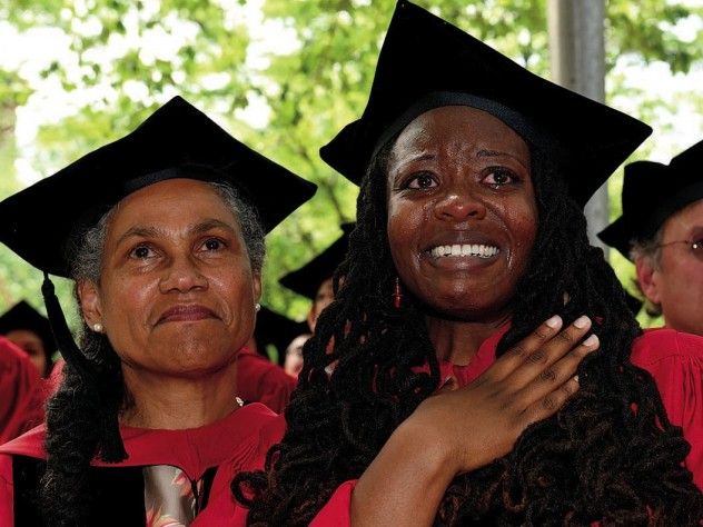 Ph.D. recipients Jacqueline Cooke Rivers (African American studies) of Boston (at left), and Jovonne Bickerstaff (sociology) of Akron, Ohio