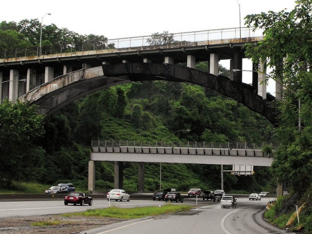 A substructure protects motorists from falling concrete until Pittsburgh's 1922 Beechwood Boulevard Bridge is rebuilt.