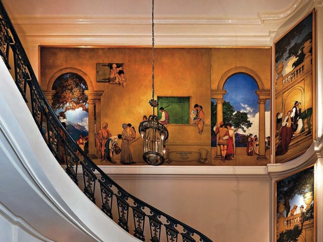 Panels from <i>A Florentine Fete,</i> by Maxfield Parrish, loom over the museum&rsquo;s lobby.