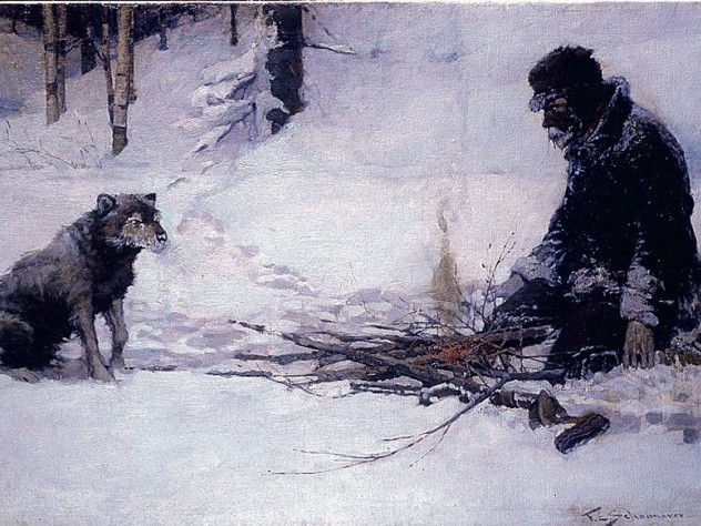 "Frank E. Schoonover's vision of the Yukon illustrated Jack London's story ""To Build a Fire."""