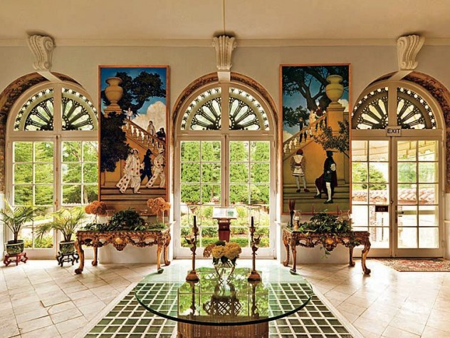 The Rose Garden loggia features more panels from <i>A Florentine Fete,</i> by Maxfield Parrish.
