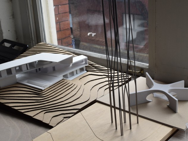 """The model for """"Crisscross Signal Spire,"""" a sculpture that will be erected in Dudley Square, Boston"""