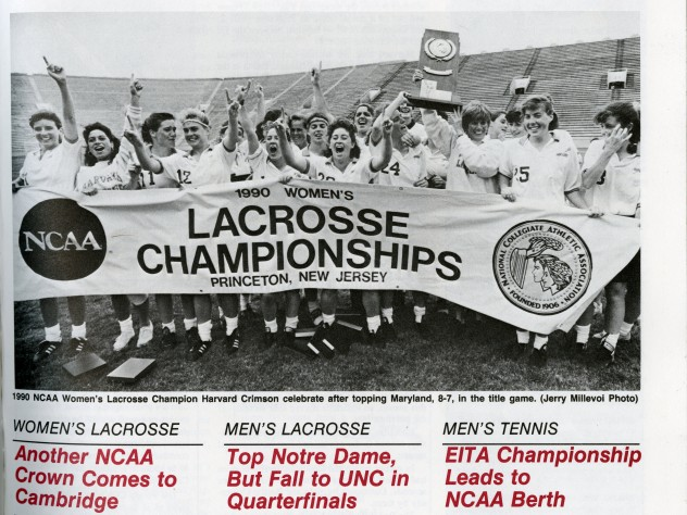 A 1990 news bulletin on the victory of the women's lacrosse team