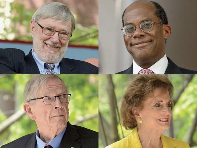 Top row from left: Thomas G. Everett and Roger W. Ferguson Jr. Bottom row from left: John H. McArthur and Betsey Bradley Urschel