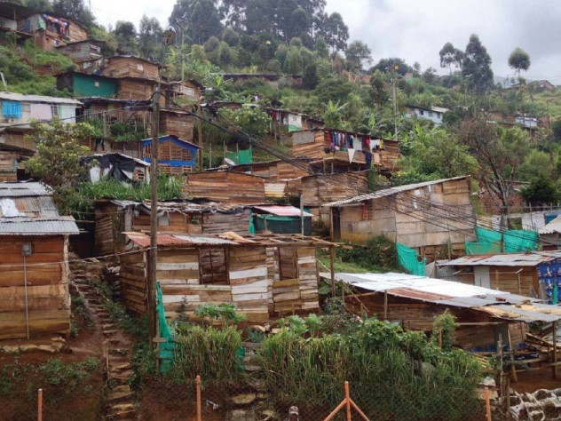 A typical example of informal urbanization, in Medellín, Colombia