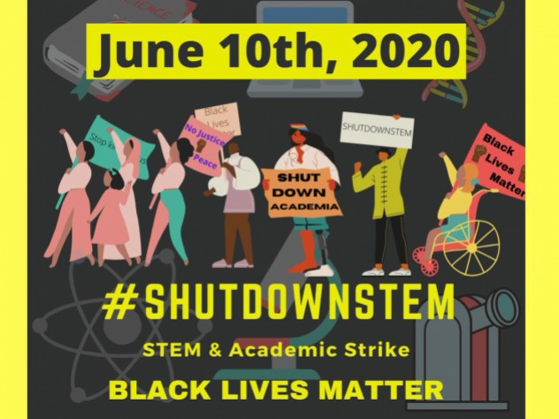 An illustrated poster for the June 10, 2020 #ShutDownStem academic strike for Black Lives Matter, showing people of different races, genders, and abilities organizing for racial justice