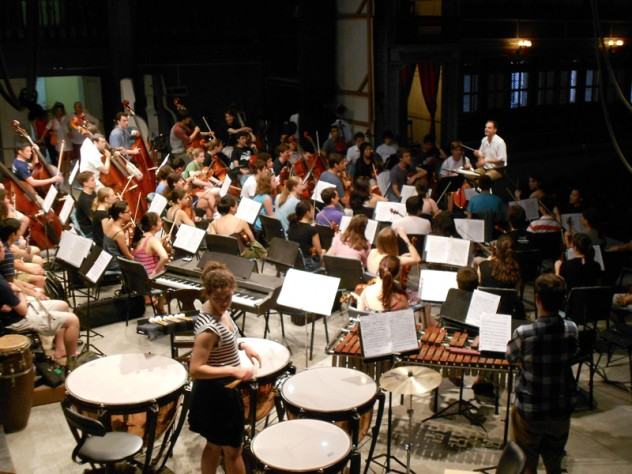 Preparing for the HRO's first concert at the historic Teatro Tomás Terry, in Cienfuegos
