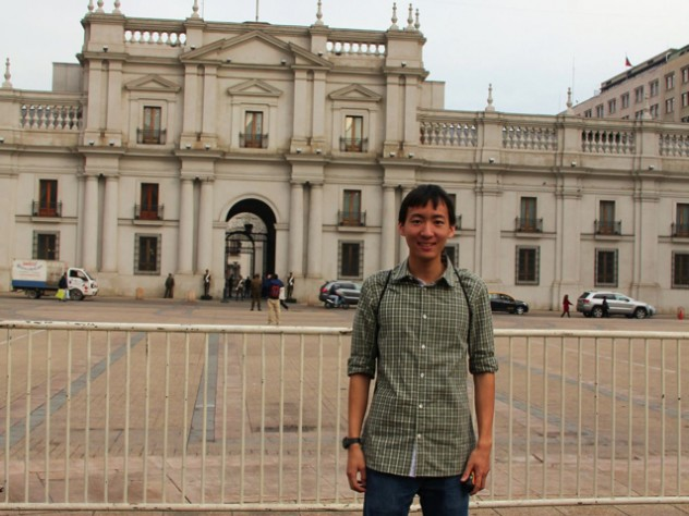 Andrew Chow outside La Moneda, Chile's presidential palace