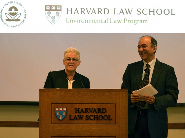 Gina McCarthy with Aibel professor of law Richard Lazarus
