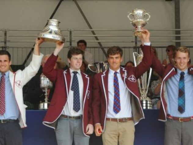 Winning oarsmen (left to right)  James O'Connor, Josh Hicks, Charles Risbey, and Andrew Holmes celebrate.