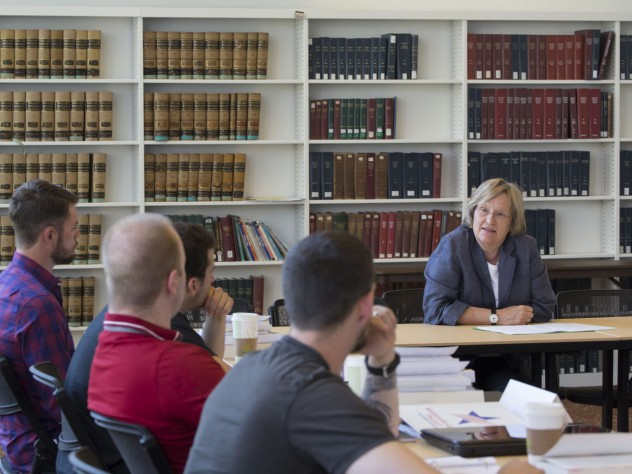 President Drew Faust addresses the 14 veterans who participated in the Warrior-Scholar Project at Harvard. The week-long pilot program, which involved democracy-themed seminars as well as reading and writing workshops, ran from July 6 to July 12.