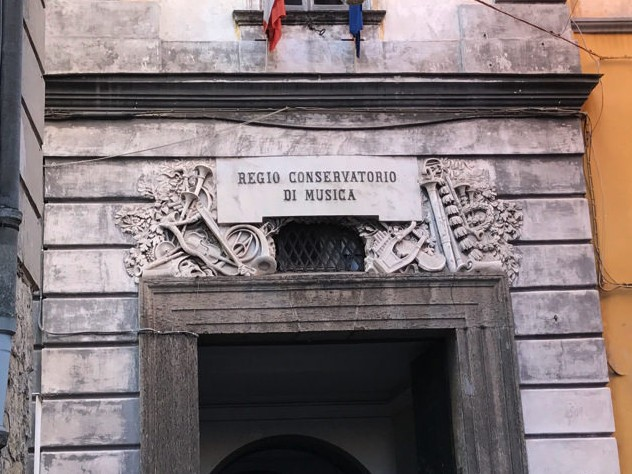 """The entrance to the Naples Conservatory retains its former title, """"Royal Conservatory."""""""