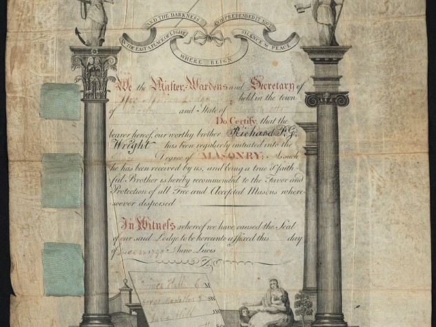 An initiation certificate for Richard P.G. Wright, inducting him into African Lodge no. 459, the first Black Masonic Lodge in Boston on June 23, 1799.