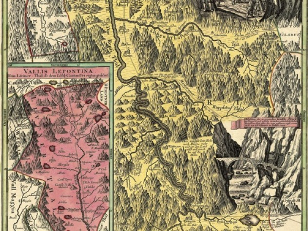 A work from the Harvard Map  Collection's exhibit <em>Gleams of a Remoter World: Mapping the European Alps</em>