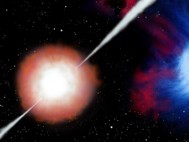 Gas jets punch out of the collapsing star and blast into space, producing gamma rays that can be detected billions of light years away.