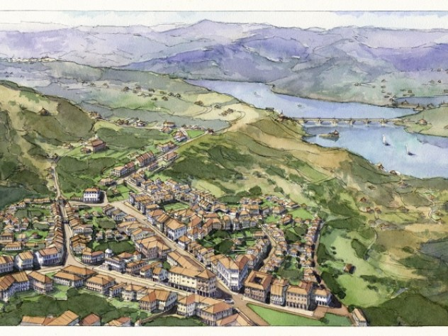 An early rendering of Lavasa, India