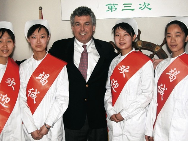 Smile Train has been especially active in China. Mullaney met these four nurses from Jinzhong No. 1 People's Hospital, one of its partner institutions, in 2005.