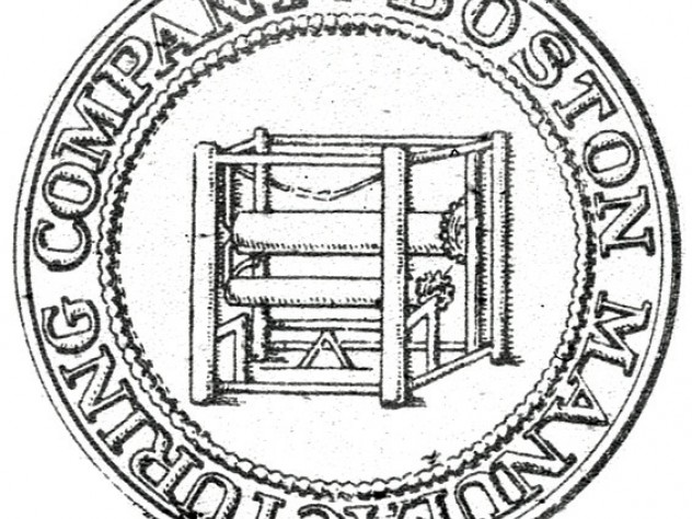 The seal of the Boston Manufacturing Company (circa 1814) emphasizes the company's power loom.