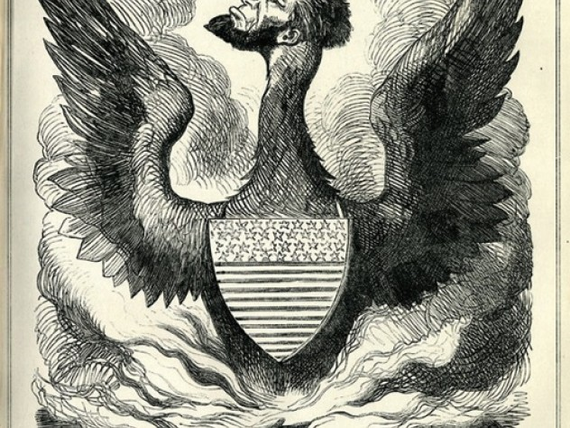 "A December 1864 John Tenniel illustration for <em>Punch,</em> depicting the miraculously reelected Lincoln as ""The  Federal Phoenix,"" while his country, the Constitution, and habeas corpus go up in flames"