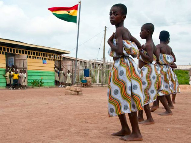 Students of Desmercy School perform a traditional Ghanaian dance.