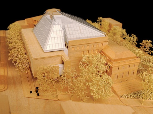 A model of the new museum building as seen from Broadway