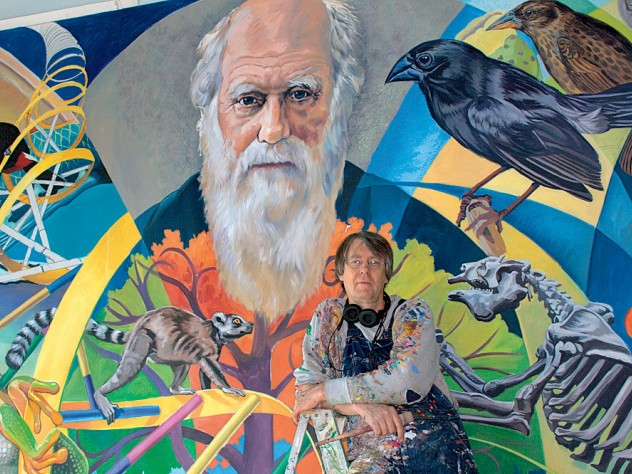 The Evolution Mural,</i> which features Charles Darwin.