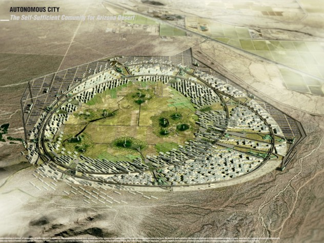 """Daniel Ibañez, M.Des.S. '12 and his team """"Autonomous City"""" won first place in The Arizona Challenge, a regional design competition that seeks to inspire teams of students to envision self-sustaining habitats in the Arizona desert. Above is a model designed by the team of a future """"community"""" in Arizona where the landscape informs patterns of urbanization."""