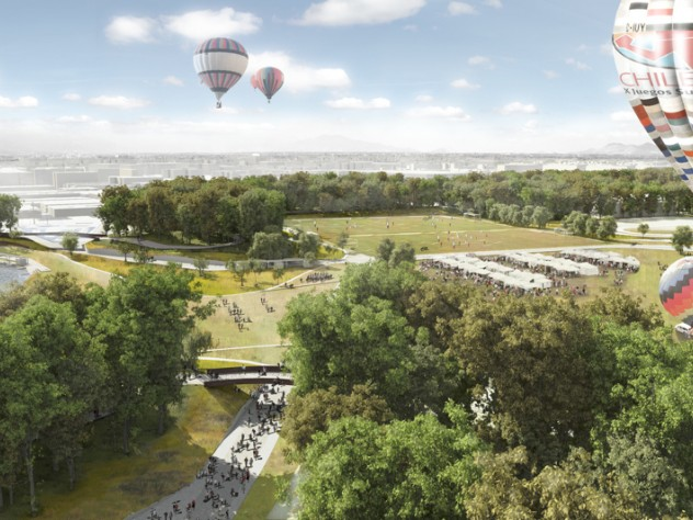 """A design for an urban park in in Santiago, Chile, by Daniel Ibañez, M.Des.S. '12, who won second place in the International Landscape Competition for this """"Parque de la Ciudadania."""""""