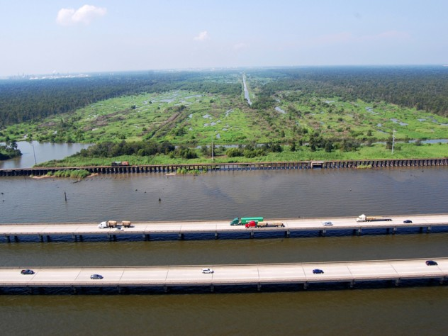 An aerial image of the Bonnet Carré Spillway, a large flood-control structure outside New Orleans that was the subject of a thesis by Travis Bost, M.Des.S. '12