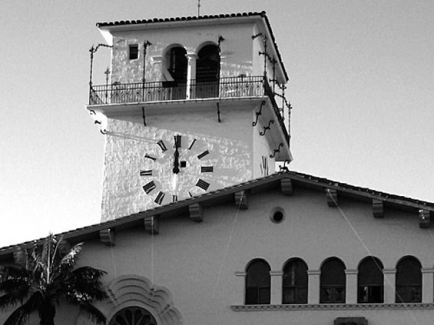 The Santa Barbara (California) Courthouse clock tower