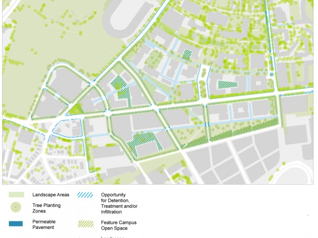 "Harvard's long-term landscap-concept plan also shows pedestrian walkways and the envisioned ""urban forest"" canopy."
