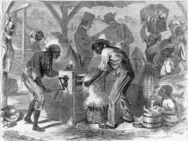 <i>The First Cotton-gin, </i>by William L. Sheppard, published in<i> Harper's,</i> December 18, 1869, shows slaves at work—and masters who profited from their labor.
