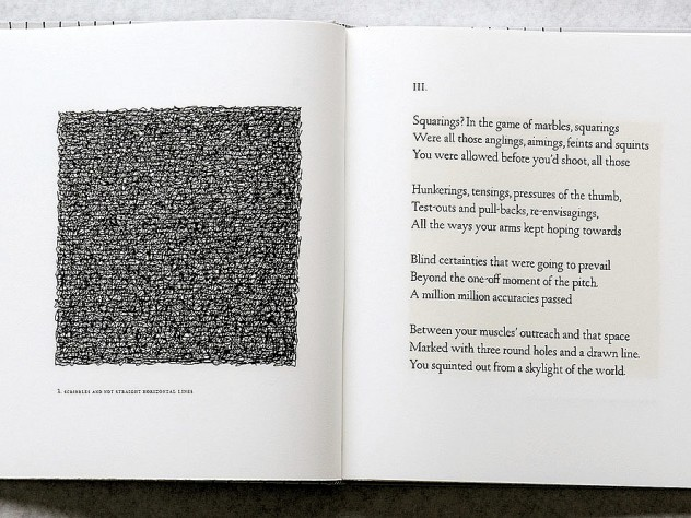 "<i>Squarings</i> (2003),  a  collection of poems by Seamus Heaney, is illustrated with Sol LeWitt's self-described ""scribbles,""."