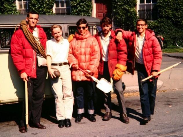 John Graham, Chris Goetze, Hank Abrons, Rick Millikan, and David Roberts at Harvard in early June 1963, just prior to departing for Alaska