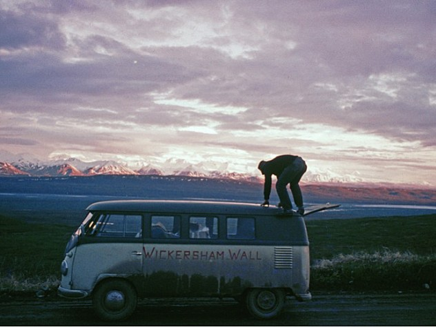 On June 18, at the first sight of Mount McKinley near Wonder Lake, Alaska, Peter Carman climbed atop the team's VW Microbus for a better look.