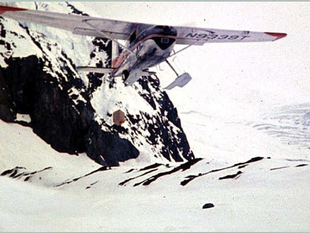 Additional supplies were airdropped by a bush plane into Base Camp—altitude 5,350 feet—at the foot of the Wickersham Wall.