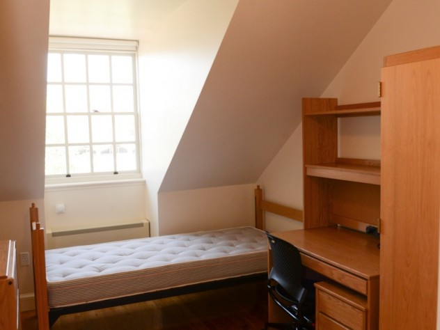 Renovated student rooms have ceiling fans, double-pane insulated glass in the windows and thermostats to control the heat.