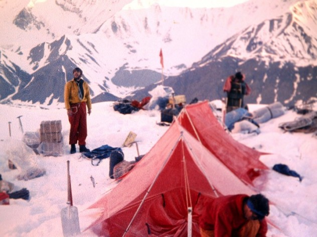 Hank Abrons and Rick Millikan at Camp Two on  July 1, altitude 7,100 feet
