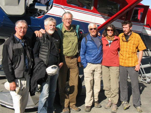 At a June 2013 reunion in Talkeetna, Alaska, four of the climbers gathered to commemorate the 50-year anniversary of their historic climb. From left: David Roberts, Richard Millikan, John Graham, and Peter Carman of the original 1963 team, along with Carman's wife, Suellen, and son, Tobey.