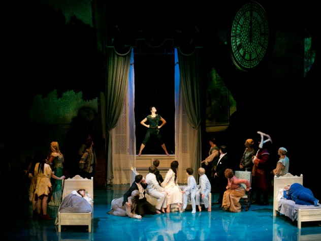 In the play-within-a-play, Peter Pan (Melanie Moore) takes the place of honor.