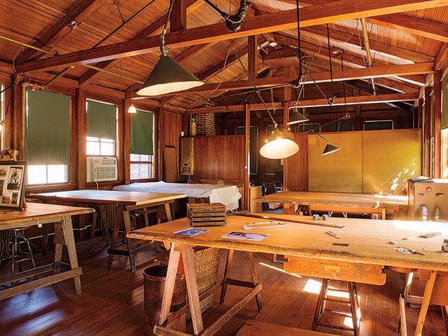 The enduring, simple beauty of Olmsted's landscapes is echoed in the rustic wooden interior of the restored drafting room at Fairsted.