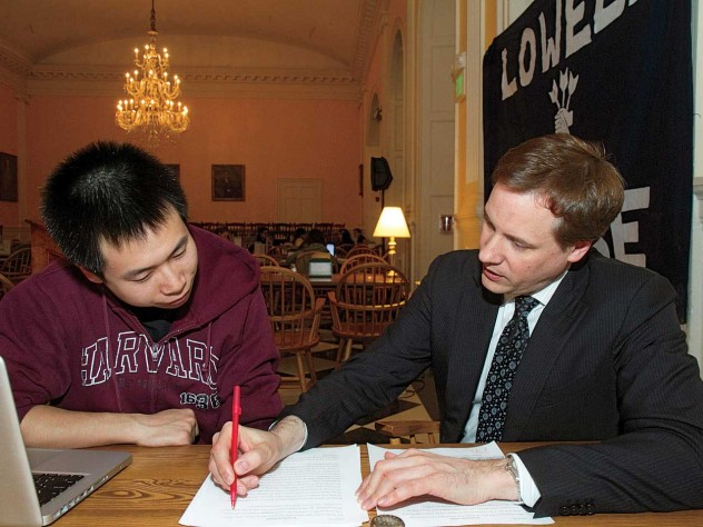 Gorick Ng '14 worked with his coach, David Ager, when preparing to speak to the House audience in 2012.