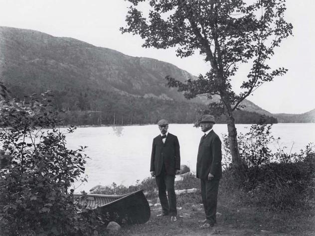 Dorr (at left) at Jordan Pond with Harvard president Charles William Eliot