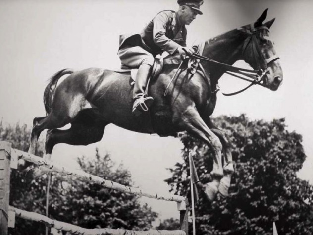 Vintage photographs of horses and riders in motion depict the disciplined nature of equestrian sports.