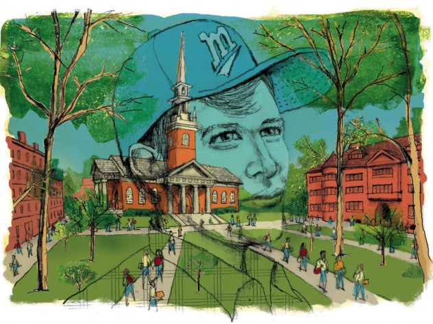 An illustration of Harvard Yard with a superimposed rendering of a youthful male figure contemplating his place at the College