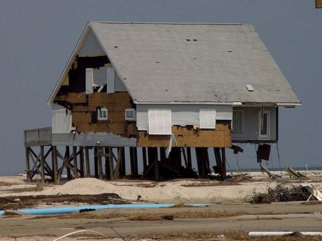 Photograph of Dauphin Island, Alabama, after Hurricane Katrina, 2005, illustrating risks of coastal development as climate change progresses